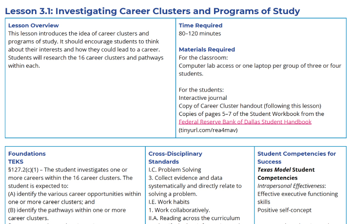 Screenshot of a lesson plan in the College and Career Readiness Curriculum